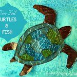 Texture Foil Sea Turtles on Salt Watercolor Background