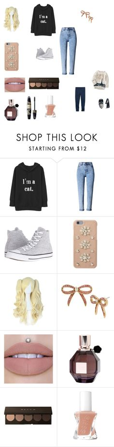 """""""Going to the UK version of Lapland"""" by bellzellz ❤ liked on Polyvore featuring WithChic, Converse, MICHAEL Michael Kors, Betsey Johnson, Viktor & Rolf and Max Factor"""