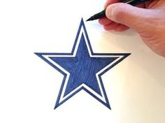 Draw the Dallas Cowboys Star Logo What you'll need for the Dallas Cowboys Logo: Protractor Pencil Eraser Navy Blue Marker TIP: Using the protractor, draw a p. Dallas Cowboys Room, Dallas Cowboys Crafts, Dallas Cowboys Wreath, Dallas Cowboys Signs, Dallas Cowboys Wallpaper, Cowboys Football, Cowboy Quilt, Cowboy Crafts, Cowboy Christmas
