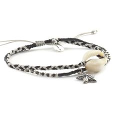 Dark Grey Starfish and Shell Bracelet on Sleet Cord