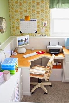 space saving ideas and furniture placement for small home office design-the table top shape might work for us but the colour scheme and finishing...yuck!