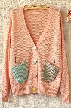 Sweater knit cardigan odd color pockets peach green beige knitting Jumper  Shirt 9868eef75