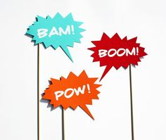 Photo Booth Props - 3 Speech Bubbles - Comic Book Party Props