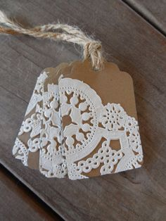 Doily Gift Tags Kraft Paper Tags by Lemon Drops & Lilacs on etsy.com
