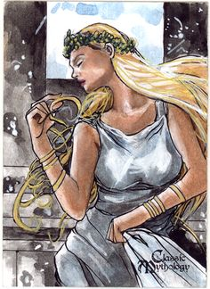 Skadi is the Goddess of Winter and of the Hunt. She is the goddess of Justice, Vengeance, and Righteous Anger, and is the deity who delivers the sentence upon Loki to be bound underground with a serpent dripping poison upon his face in payment for his crimes.