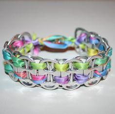 Arco iris pastel Pop puede ficha pulsera con cierre por eclecticKel