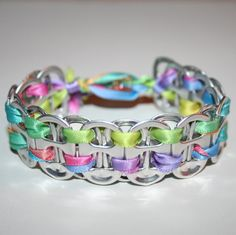 Rainbow Pastels Pop Can Tab Bracelet with Star Bead