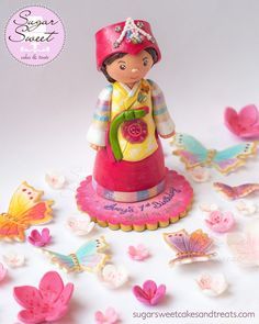 Custom Korean Hanbok Dressed Doljanchi Cake Topper (Korean First Birthday) - Clay Keepsake with Gumpaste Cherry Blossoms and Gumpaste Butterflies by Angela Tran (www.ShopSugarSweet.etsy.com)