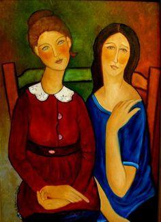 Painting Dwie siedzące od A.M - Artist Krystyna Ruminkiewicz