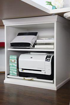 23 trendy home office organization printer storage Home Office Space, Bedroom Office, Home Office Design, Home Office Furniture, Home Office Decor, Office Ideas, Desk Space, Closet Office, Office Designs
