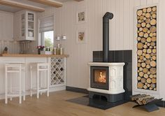 Freestanding Stove Wood Burning Fireplace in the tiled casing up to Wood Stove Surround, Wood Stove Hearth, Wood Burner, Home Room Design, Living Room Designs, Corner Wood Stove, Living Room With Fireplace, Fireplace Design, New Homes