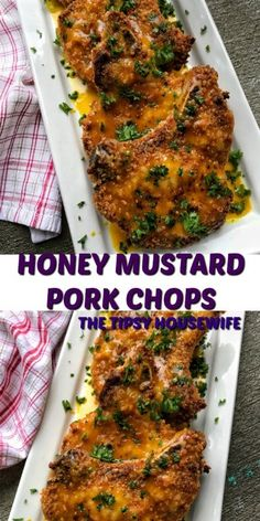 quick dinner that takes thirty minutes or less. These crispy pork chops with a honey mustard glaze make a perfect weeknight dinner or a meal for a Sunday supper. Fast, Easy, Affordable, delicious make this the best pork chop recipe ever! Easy Pork Chop Recipes, Meat Recipes, Cooking Recipes, Healthy Recipes, Recipies, Roasted Pork Recipes, Healthy Meals, Dinner Recipes, Honey Mustard Pork Chops