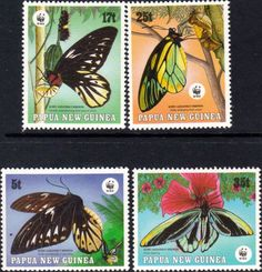 Papua New Guinea 1988 Endangered Species Butterflies Set Fine Mint SG 579/82 Scott 697/700 Other European and British Commonwealth Stamps HERE!