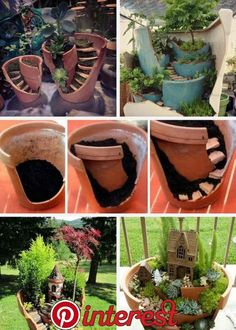 Garden Design Jardines Fairy Garden in one of the fun ways of decorating gardens by using broken pots, wood pieces, planters soil and other wrecked items. It creates a miniature fantasy garden with the help of unusable items. Broken Pot Garden, Fairy Garden Pots, Fairy Garden Houses, Garden Planters, Succulents Garden, Garden Art, Backyard Plants, Garden Terrarium, Fairy Gardening