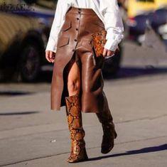 New brown faux leather button down high waist A line midi length women skirt Midi Length Skirts, Midi Skirt, Faux Leather Skirt, Pu Leather, Button Skirt, Casual Skirts, Autumn Fashion, Jackets, Pencil Skirts