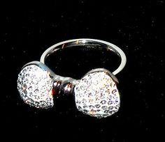 Stainless Steel Bow-Design Crystal Ring sz 9 http://stores.ebay.com/JEWELRY-AND-GIFTS-BY-ALICE-AND-ANN