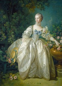 French Rococo Paintings Portrait of Madame Begeret, 1746 ~ by François Boucher Her husband was a patron of Boucher's -- likely introduced Boucher to Madame Pompadour, his most important and long-standing client. National Gallery Of Art, Jean Antoine Watteau, Madame Pompadour, L'art Du Portrait, Female Portrait, Rococo Fashion, French Fashion, Francisco Goya, 18th Century Fashion