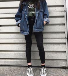 denim jacker leggings black skinny jeans green t shirt comfy casual outfits clothes korean fashion spring summer autumn winter school street everyday aesthetic soft minimalistic kawaii cute g e o r g i a n a : c l o t h e s Edgy Outfits, Mode Outfits, Retro Outfits, Cute Casual Outfits, Fall Outfits, Vintage Outfits, Outfits With Black Vans, Hipster Style Outfits, Black Vans Outfit