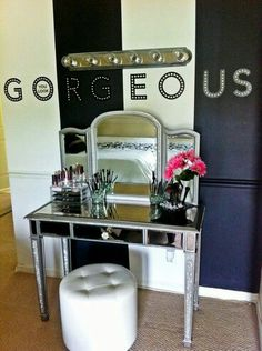 Love the idea of putting script above a makeup vanity