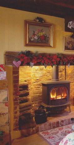 Festive woodburner and brick hearth, lit chimney Red Brick Fireplaces, Brick Hearth, Inglenook Fireplace, Rustic Fireplaces, Fireplace Hearth, Living Room Ideas Red Brick Fireplace, Fireplace Ideas, Wood Burner Fireplace, Country Fireplace