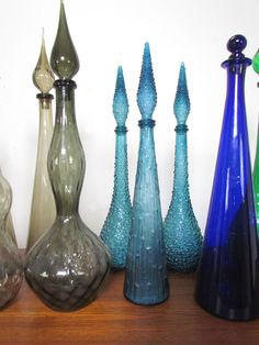 Genie Bottles Genie In A Bottle, Colored Vases, Images Of Colours, Vintage Bottles, Murano, Glass Art, Perfume Bottles, Heaven, Objects