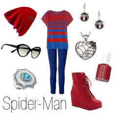 Spider-Man inspired outfit; character inspired fashion Marvel Fashion, Superhero Fashion, Geek Fashion, Nerd Outfits, Fandom Outfits, Disney Outfits, Movie Outfits, Cool Outfits, Movie Inspired Outfits