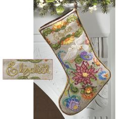 Jacobean Dove Christmas Stocking Crewel Kit - Cross Stitch, Needlepoint, Embroidery Kits – Tools and Supplies