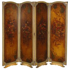 Antique Painted Four Panel Privacy Screen Dressing Screen, Room Screen, Antique Paint, Cool Furniture, Sweet Home, Divider, Antiques, Painting, Vintage