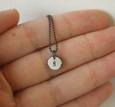 Single Monogram necklace in recycled fine by SilverLinesJewelry, €23.19