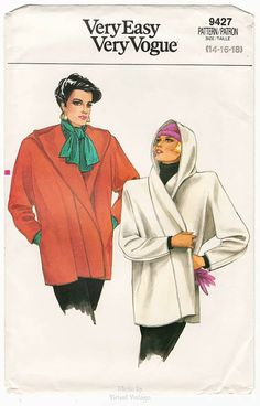 Womens Hooded Wrap Coat Pattern Very Easy Vogue A 1985 version