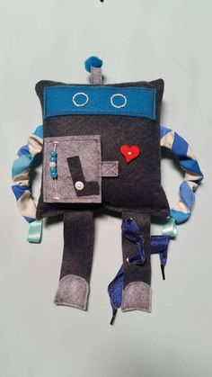 Large colorful activity wool felt robot doll by ThePatacakeShop