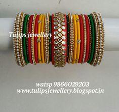 Silk Thread Bangles Design, Silk Bangles, Bridal Bangles, Thread Jewellery, Fabric Jewelry, Patiyala Dress, Ankle Jewelry, Tatting Jewelry, Thread Art