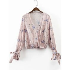 Light Pink Floral Print Wrap Blouse With Bow Tie ($21) ❤ liked on Polyvore featuring tops, blouses, flower print blouse, light pink blouse, floral tops, floral-print blouses and light pink top