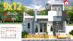 Small House Design Plans with 2 Bedrooms Full Plans - House Plans Simple House Plans, My House Plans, Simple House Design, 20x30 House Plans, 2 Bedroom House Plans, House Layout Plans, House Layouts, Flat Roof House, Tiny House