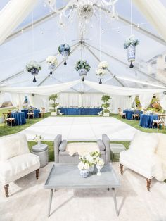 Regal blue and white reception