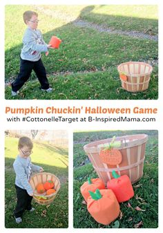 Playing Our DIY Pumpkin Chuckin' Halloween Game Sponsored by #CottonelleTarget at B-Inspired Mama