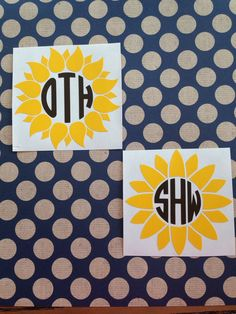 Sunflower Monogram Decal   Sunflower Car Decal by MMVinylCreations