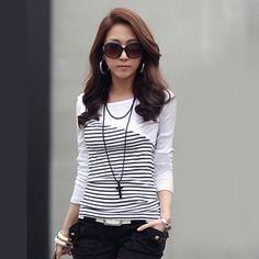 8b3b95e7954c Women Clothes Striped Tshirt Long Sleeve Tops Womens Clothing T-Shirts  Cotton Casual Tee Shirt