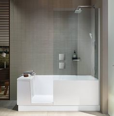 If space is an issue the Walk-in Shower + Bath from Duravit is an ideal alternative.The bathtub has an integrated glass door. Walk In Shower Bath, Bathtub Shower Combo, Bathroom Tub Shower, Small Bathroom With Shower, Small Bathrooms, Walk In Bathtub, Bathroom Ideas, Duravit, Modern Bathroom Design