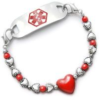 Medical ID Bracelet 1284 Hearts Content by Artist and Cancer Survivor Abbe Sennett