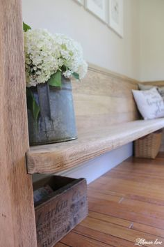 I have long been on the hunt for the perfect church pew for our farmhouse. Our home is the headquarters for many family dinners and holidays so seating can often be at a premium. Church pews are great because they can fit a lot of people without sacrificing much needed floor space. We found this pew for sale on Craigslist at a local antique shop and were very excited by it's size and craftsmanship. furniture makeover / hydrangeas and watering can
