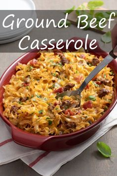 My Ground Beef Casserole is easy, cheesy, and crowd please-y! Plus, you probably have most of the ingredients on hand already. 30 Minute Meals, Quick Meals, Ground Beef Casserole, Fall Dinner, Slow Cooker Pork, The Fresh, Macaroni And Cheese, Dinner Recipes, Stuffed Peppers