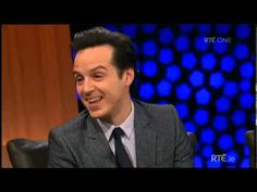 "Andrew Scott - Interview at the Late Late Show 17-01-2014 >> ""An intense fanbase..."" lol - he never does answer the question about his kiss with Cumberbatch"