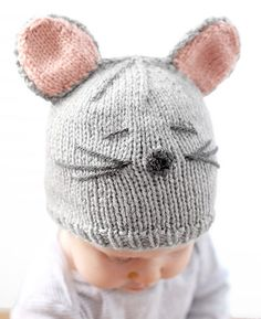 Free Knitting Pattern for Little Mouse Baby Hat - Cassandra May at Little Red Window designed this knit baby hat that gets its personality from a some easy pieces.