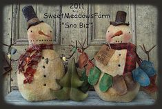 Primitive E-PATTERN Snowman Doll Mittens and Christmas Tree SnoBiz
