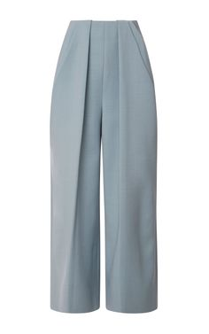 Shop Pant With Symmetric Pleats. Recurring throughout the collection, this powdery pastel palette evokes a youthful innocence, breathing fresh life into these luxurious, ankle-grazing Delpozo pants. Wrap Pants, Skirt Pants, Trouser Pants, Fashion Pants, Hijab Fashion, Fashion Outfits, Moda Casual, Delpozo, Mode Hijab