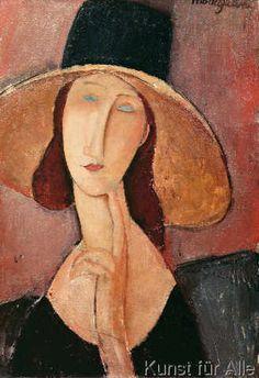 Amedeo Modigliani - Portrait of Jeanne Hebuterne in a large hat, c.1918-19