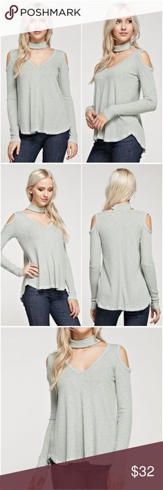 Cold Shoulder Sweater Two of my best selling styles combined in one, super comfy and stylish sweater in sage color! Ribbed, long sleeves sweater with chocker neckline, cold shoulder detail and relaxed fit. Also available in black. Pls. see separate listing. Tops