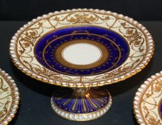 3 Aynsley Royal Blue and Gold gilded textured raised sweet dishes (f) | eBay