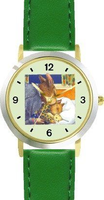 Mommy & Baby Bunny Rabbit being Tucked in with Teddy Bear - from Hush Little Baby by Artist: Sylvia Long - WATCHBUDDY® DELUXE TWO-TONE THEME WATCH - Arabic Numbers - Green Leather Strap-Size-Children's Size-Small ( Boy's Size & Girl's Size ) WatchBuddy. $49.95. Save 38%!